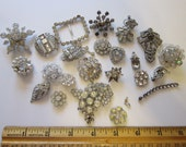 vintage rhinestone reuse lot - 20 pieces - components, rhinestones, parts - for reuse - as is