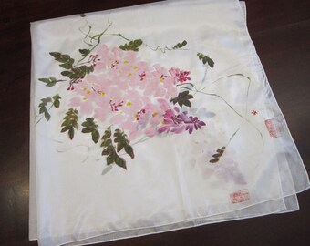 vintage silk scarf - hand painted flowers with asian chop seal stamp - 35 inches