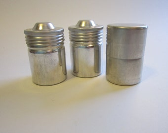 3 vintage aluminum film canisters - Ansco and unmarked