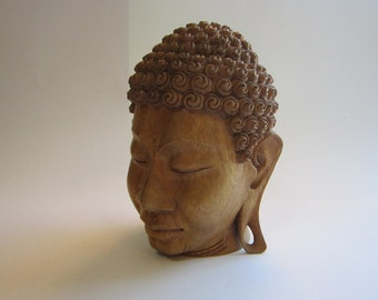 vintage carved wooden Buddha head - 7.5 inches