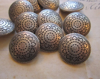 11 metal buttons - 20mm - antiqued silver tone, southwest style
