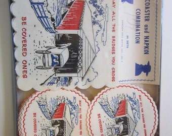 vintage napkin and coaster set - May all the bridges you cross be covered ones - hostess set, humorous, paper coasters