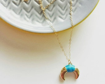 Gold crescent necklace wrapped in turquoise on gold filled chain, pretty bohemian jewelry