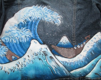 The Great Wave off Kanagawa, The Great Wave off Kanagawa painting, The Great Wave, The Wave, hand drawn, hand painted, geeky clothes,