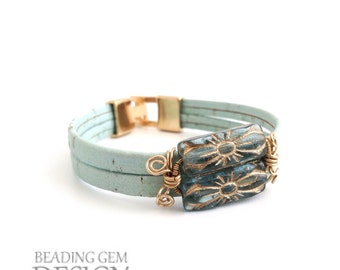 Teal Leather with Wire Wrapped Beads Bracelet