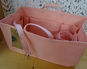 Purse/Diaper Bag Organizer Shaper/12 x 6/PASTEL PINK/Fits Neverfull MM/stiff wipe-clean bottom, handles, key fob & bottle loop/Ready to ship