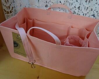 Fits Neverfull MM/Purse-Diaper Bag Organizer Shaper / 12 x 6 / PASTEL PINK / Sturdy / stiff wipe-clean bottom, handles & 2 extra options