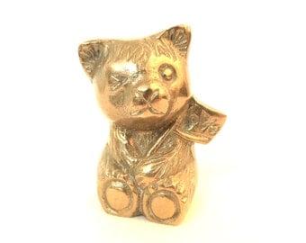 vintage brass teddy bear / miniature brass bear