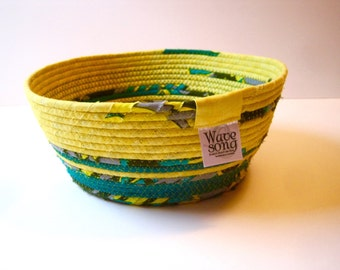 Coiled Rope Basket - Scrappy Fabric Bowl - Green Yellow Fabric Vessel