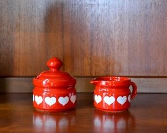 vintage red heart waechtersbach sugar and creamer set
