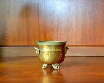 vintage small brass cauldron