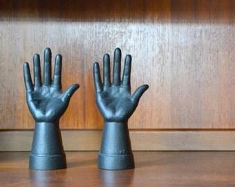 vintage antique cast iron hand mold