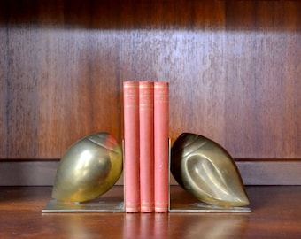 vintage brass seashells bookends