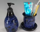 Bathroom accessory set pottery soap dispenser, ceramic lotion pump, stoneware soap dispenser, ceramic toothbrush holder, toothbrush holder
