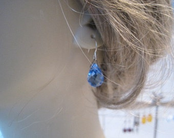 Vintage Updated Czech Blue Glass Drop Pierced Earrings from Original Screw On Earrings FREE SHIP