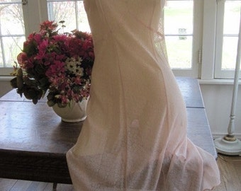 Vintage 1930's Valisere d Art Size 42  Peach Pink Stretchy Lace  Silk Nightgown...Wedding Lingerie...Bridal Wear...