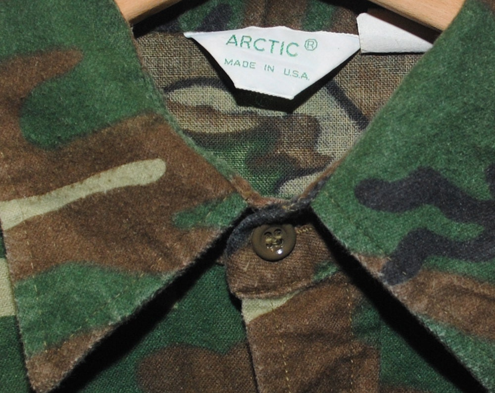 Vintage ARCTIC Camo 100% Cotton Button Up Hunting Shirt Made in USA - Medium