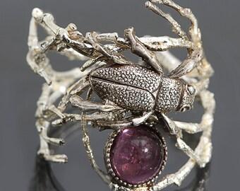 Silver Twig Ring Beetle Ring Beetle Jewelry Beetle Rings
