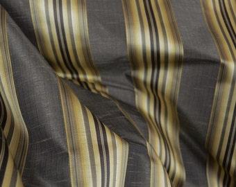 Candia Twilight Black Gold Striped Fabric