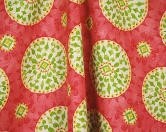 REMNANT Suzani Johara Citrus Pink Green Fabric 54 Inches x 1.75 Yard