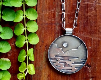 Unique Sterling Silver , Silver Mountain lake  Necklace ,Rustic, Boho, Mountain, nature