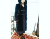 B E A U T I F U L 1950s 1960s Dark Brown Faux Fur Borgana Long Coat