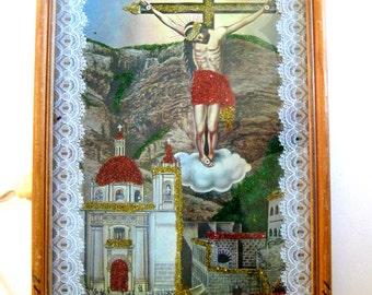 Vintage Mexican Nicho Shadow Box Glass Jesus Crucifix w/Light Devotional Art Altar