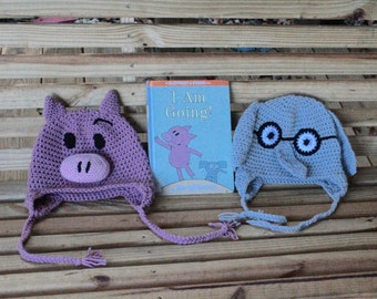 Made to order crochet Piggie and Gerald Set, Two Hats, Mo Willems