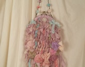 Lavender Love Silk Knit Fairie Purse  Marie Antionette Style Art to Wear in Palest Pastel Shades Lavender Love