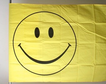 vintage 90s DEADSTOCK yellow SMILEY face flag