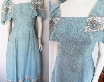 Vtg.70s Blue Floral Bird India Print Cotton Flutter Sleeve Maxi Dress.S.Bust 36.Waist 29.