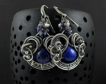Wire wrapped earring, blue lapis earring, dangle gemstone earring, sterling silver jewely
