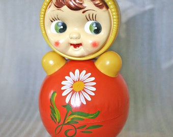 Vintage Roly Poly Doll - Nevalyashka - 40cm - Rare Floral - 1970s - from Russia / Soviet Union / USSR