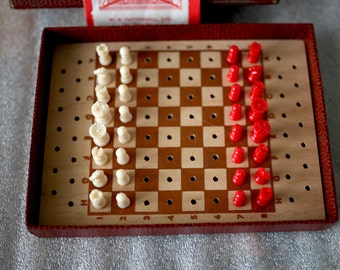 Vintage Chess Set Travel Pocket Chess in Original Box Made in London UK Excellent Condition Great Gift