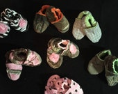 Baby girl boy shoes booties real tree, mossy oak, zebra, polka dot