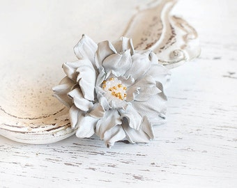 White leather flower brooch