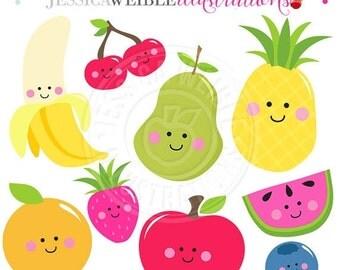 SALE Kawaii Fruit Cute Digital Clipart, Cute Fruit Clip Art, Smiling Fruit Clipart, Fruit Graphics, Apple Clipart, Pear Clipart, Banana, Che