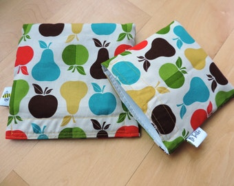 Lg/Md Fruits Reusable Snack Sandwich Baggie Bag Set with water resistant lining