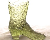 Fenton Glass Boot, Vintage Green Glass Shoe Figurine (F3)