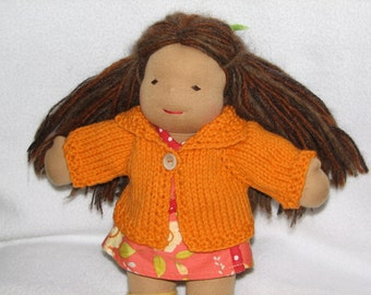 Waldorf Doll Sweater for 10 inch Doll in Orange Wool RTG