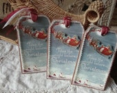 Victorian Christmas gift tags The night before Christmas tag ornaments Santa claus and sleigh party favor gifts