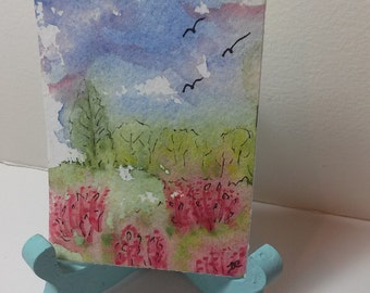 Tiny Little ACEO Art Watercolor Painting Doll House Art