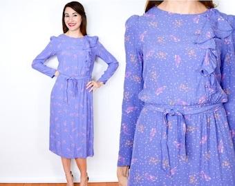 SummerS SALE 80s Lavender Floral Dress | Purple Ruffle Dress | 40s Style Dress