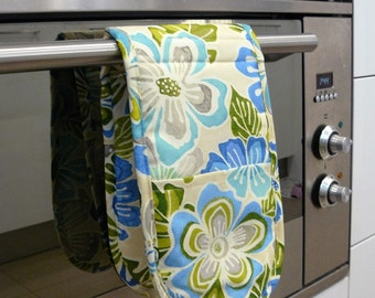 Double Oven Mitt - sky blue and royal blue flowers