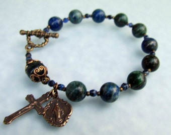 Azurite Lapis Lazuli Gemstone Rosary Bracelet with Bronze medals and Toggle