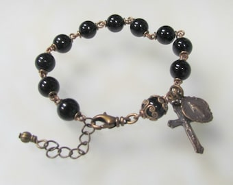 RESERVED for Freddie -- Heirloom Black Onyx Rosary Bracelet