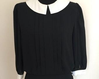 vintage 80s gothic blouse Peter Pan collar black white Wednesday Adams