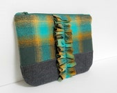 gift under 25 flannel bag gift for her clutch purse bridesmaid gift zipper pouch cosmetic bag makeup bag