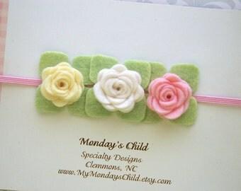 Felt Flower Headband, Felt Baby Headband, Felt Headband, Pink Flower Headband, Baby Headband, Newborn Headband, Toddler Headband