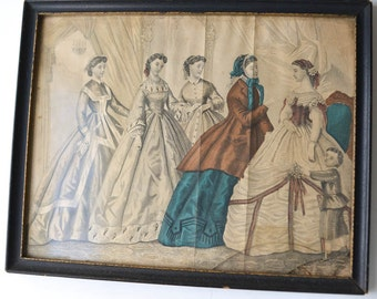 Vintage Fashion Print, Framed, Romantic